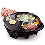 LIVEN Electric Grill with Hot Pot, Non-stick coating...
