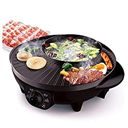 LIVEN Electric Grill with Hot Pot, Non-stick coating surface, Hot Pot with Glass Lid