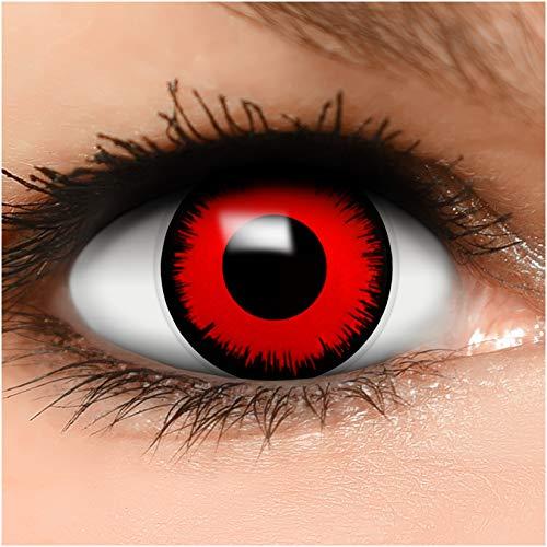 Farbige Kontaktlinsen Volturi Vampir in rot + Behälter - Top Linsenfinder Markenqualität, 1Paar (2 Stück)