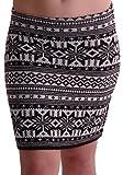 EyeCatchClothing - Damen Warmer Strick Stretch Rock im Azteken Design Einheitsgröße Schwarz