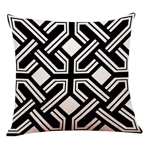 VRTUR Funda de Almohada Decorativa para el hogar de Lino de algodón Sofá Cintura Cojín (45x45cm,Z-Multicolour-B)