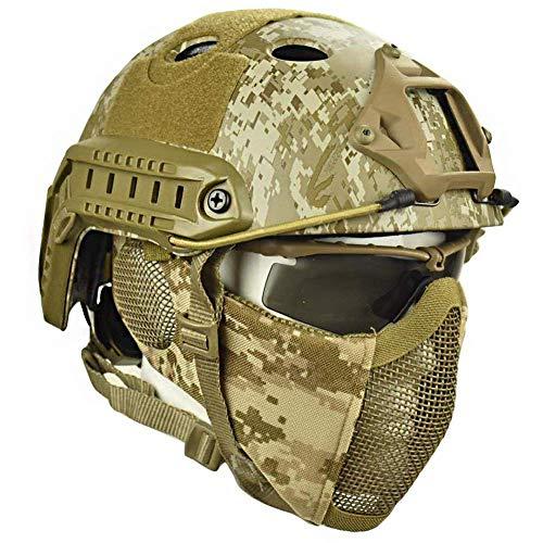LIKEDA Airsoft Paintball Schutzhelm, Taktische Helme Mit Stahlgitter Maske CS Spiel Set 8 Farbe,C