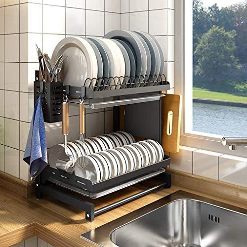 HUOQILIN Hogar Almacenamiento de Cocina Estante, Estante de la Cocina, Negro 201 Acero Inoxidable Mesa de Drenaje Rack Estante for Platos, 2 Capas / 3 Capas, 3 Capas XUAGMT (Size : 2 Layer)