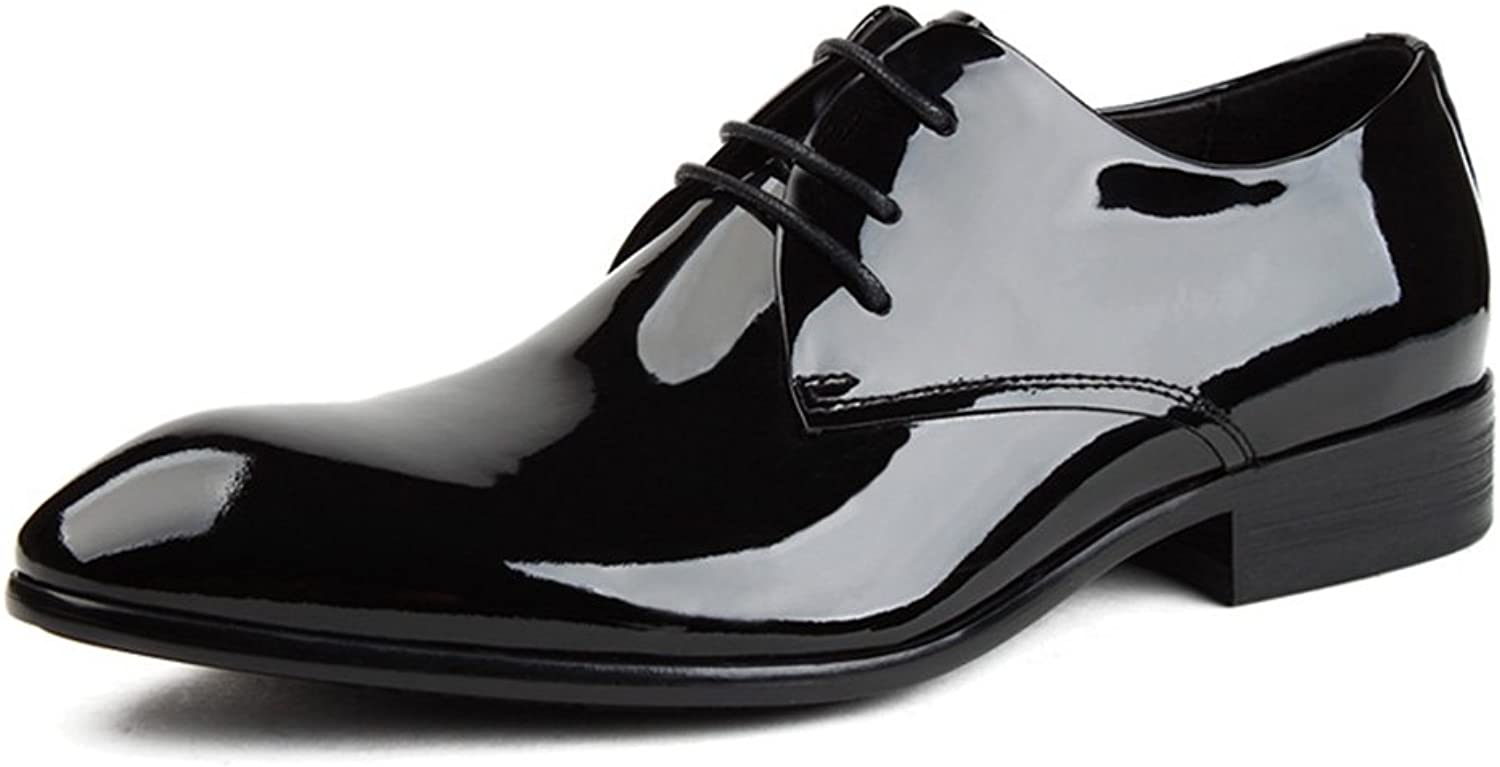 Men's shoes Business Style Formal Wear Leather Lace Bright Wedding Pointed shoes Bridegroom