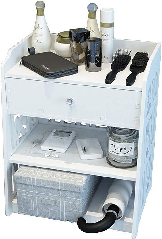 JU FU Bedside Table Bedside Tables Storage Unit Single Drawer Home Decor Wall Shelf Bookshelf Shelving PVC White