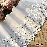15 cm de ancho CALIENTE Algodón blanco bordado de flores de encaje collar de tela Apliques de costura DIY cinta de ajuste nupcial Dubai guipur vestido decoración, blanco