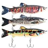 Fishing Lures for Freshwater,Lifelike Artificial Bass Lures Multi Jointed Swimbaits with Stronger Treble Hooks Slow Sinking Bass Fishing Kit,Pack of 3(2 Segment-3PACK)