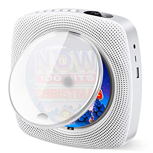 pequeñas Reproductor de CD portátil con Altavoz Bluetooth de alta fidelidad integrado Montaje en pared USB MP3 Reproductor de música Radio FM AUX Conector de 3,5 mm Regalo Niños Amigos (Blanco)