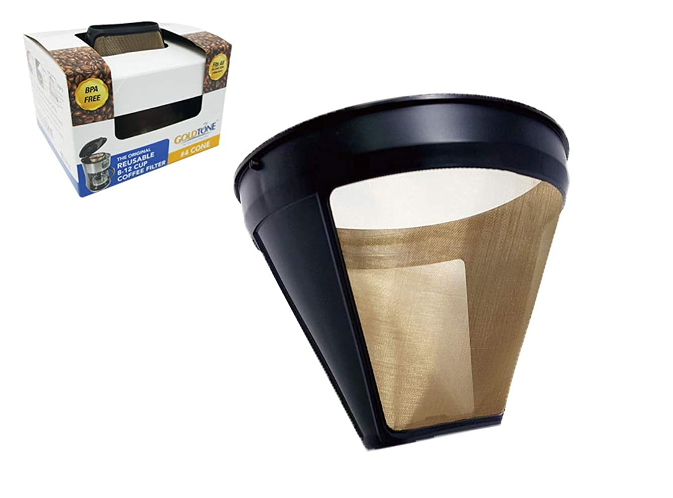 GOLDTONE Reusable #4 Cone Style KRUPS Reusable Coffee Filter Replaces Your F05342 Permananet Coffee Filter for KRUPS Machines and Brewers