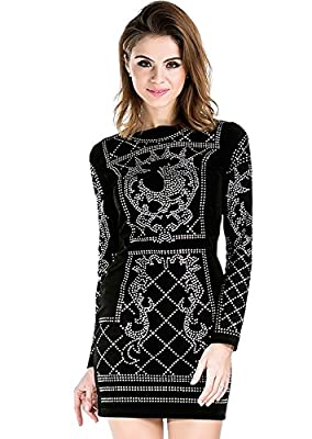 Missord Women's Long Sleeve Halter Studded Casual Mini Dress with Zipper Black
