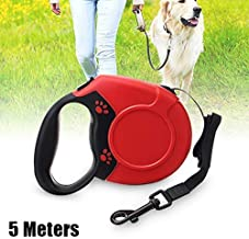 5M Auto Retractable Dog Leash, Portable Automatic Training Lead for Pet, Walking Running Bite-Resistant Ribbon Leashs with Elastic Rope for Dogs for Small & Medium Dogs(Red)