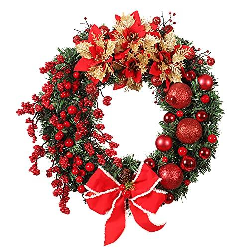 YWYU Guirnalda de flores de Navidad con colgante decorativo para colgar en la puerta, corona de arpillera, corona de granja y corona de vid