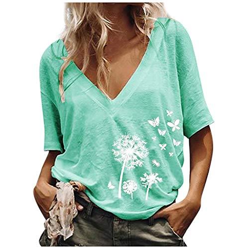 Great Deal! ANJUNIE Womens V-Neck Loose Solid Tee Shirt Print T-Shirt Summer Tunic Blouse Tops(Light Blue,M)