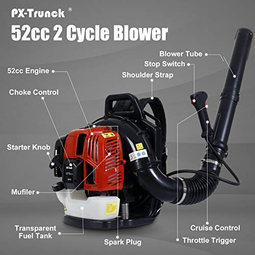 PX-Trunk Gas Leaf Blower 52cc 2 Cycle Engine Backpack Blower Powerful Gas Powered Blower for Lawn Garden Commercial Blower
