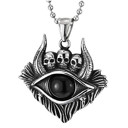 COOLSTEELANDBEYOND Vintage Tribal Toro Ojos Cuerno Cráneo Medalla Colgante con Negro Ónix Perla, Collar de Homre, Acero, Bola Cadena 75CM