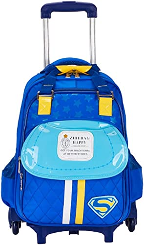RRight  Schultrolley Schulranzen 17 Zoll Rolling Rolling Backpack Six Wheels Trolley Multi-Compartment Wasserdichte Schultasche für mädchen und Jungen,D