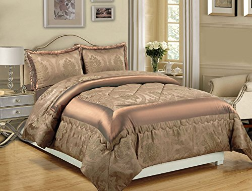 Other 3PCS BEDSPREAD JACQUARD QUILTED BED SPREAD COMFORTER SET PILLOW COVERS[Caramel,Double]