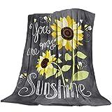 Mantas de Girasoles y Abejas You Are My Sunshine Decor Colcha Súper Suave y acogedora Manta de Franela para sofá Cama, Silla de Viaje