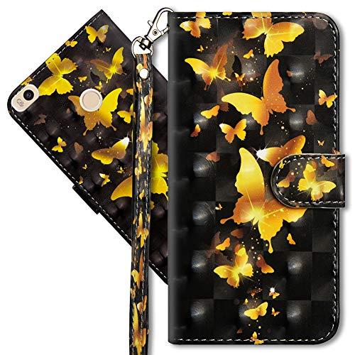 MRSTER Xiaomi Mi Max 2 Handytasche, Leder Schutzhülle Brieftasche Hülle Flip Hülle 3D Muster Cover mit Kartenfach Magnet Tasche Handyhüllen für Xiaomi Mi Max 2. YX 3D - Golden Butterfly
