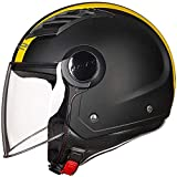 HengYue Casco Moto Uomo E Donna Mezzo Casco Moto Four Seasons Casco Universale Traspirante,XXXXL