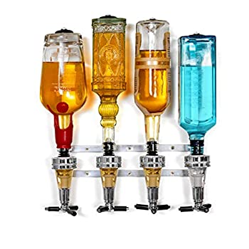 Wyndham House Liquor Dispenser - 4-Bottle Drinks Alcohol Station - Wall-Mounted Cocktail Tap Push-Release Valves Rubber Suction Cups Home Bar Man Cave Bartender Accessories