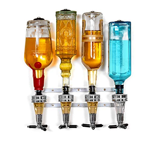 Wyndham House Liquor Dispenser - 4-Bottle Drinks, Alcohol Station - Wall-Mounted Cocktail Tap, Push-Release Valves, Rubber Suction Cups, Home Bar, Man Cave, Bartender Accessories