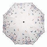 Lirener Paraguas de Cambio de Color(Mariposa), Paraguas Plegable para Viaje con 8 Varillas, Un Paraguas Mágico, Paraguas Negro antiviento, Compacto y Ligero, Cambio de Color Paraguas