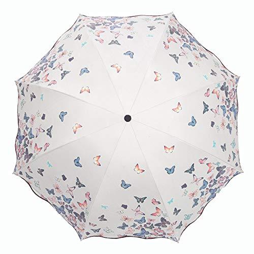 Lirener Farbwechsel Regenschirm, Faltbar Kompakt Vinyl Sonnenschirm UV-Schutz Winddicht Regenschirm, die Farbe Wechseln bei Nässe Windfest, Kompakte Design, 8 Verstärkten Rippen, Schmetterlings muster