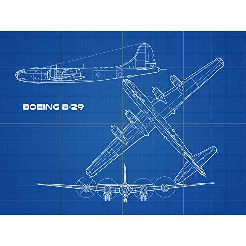 Artery8 Boeing B-29 Superfortress Plane Blueprint Plan XL Giant Panel Poster (8 Sections) súper Avión Azul Póster