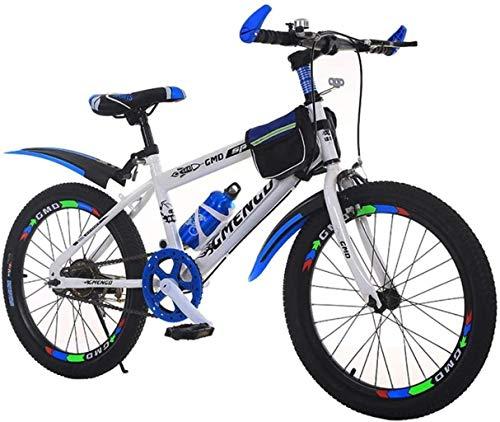 HongLianRiven BMX Kinderfahrrad, Gebirgsfahrrad, Studenten Bike, Hard Tail Bike, 20/22 Inch, Single Speed Fahrrad, Scheibenbremsen Bike 7-20 (Color : Blue, Size : 22 inch)