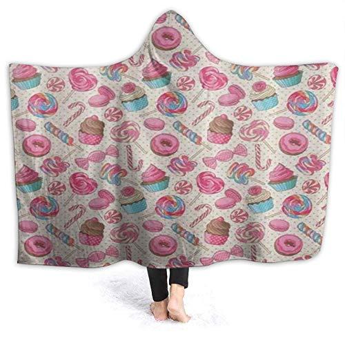 HARXISE Tragbare Hoodie Decke,Candy Cane Yummy Sweet Lollipop Candy Macaroon Cupcake und Donut auf Tupfenmuster,Umhang Druck Grafik warm für den Winter 60x50