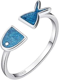 Lozse Anelli regolabili Pesce azzurro a forma di anello d'argento aperto placcatura regalo di compleanno di anello di alle...