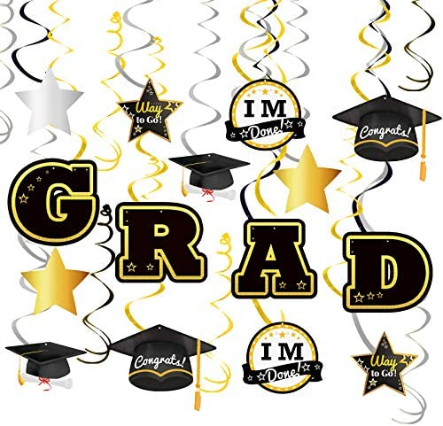 Ivenf 2021 Graduation 36 Pcs Party Supplies Hanging Swirl College Decorations Black Silver and product image
