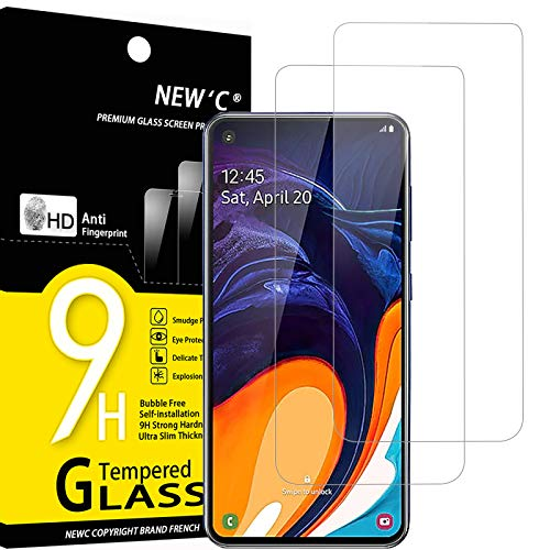 NEW'C 2 Unidades, Protector de Pantalla para Samsung Galaxy A60, Antiarañazos, Antihuellas, Sin Burbujas, Dureza 9H, 0.33 mm Ultra Transparente, Vidrio Templado Ultra Resistente