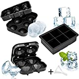 Whaline 3 Pack Silicone, Squares Ball Maker & Diamond Tray with Lids, Large Ice Cube Mold for Whiskey Cocktail or Baby Food