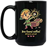 zelda coffee cup - ZELDA YOU FOUND COFFEE ALL HEARTS RESTORED 15 oz. Black Mug