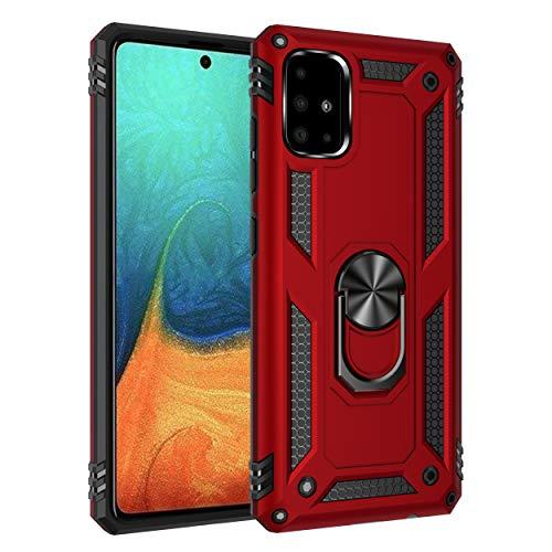 Wkvnk - Carcasa para Samsung Galaxy A71 (no para 5G), diseño de armadura de silicona flexible de poliuretano termoplástico y policarbonato doble mixto, protección antiarañazos, color rojo