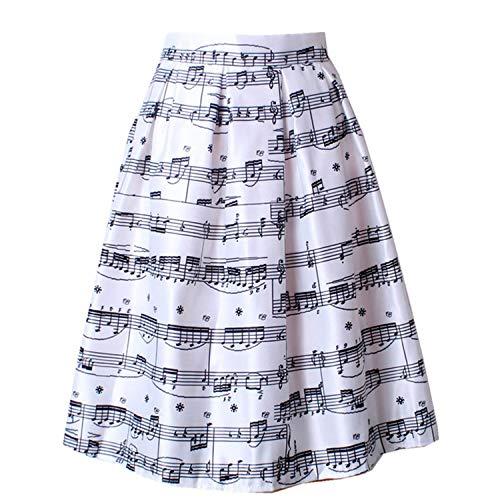 Sweet Studio Vrouwen Piano Muziek Opmerking Melodie Print Plissé Hoge Taille Vallen Flared Tutu Midi Rokken
