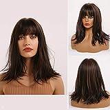 MISHAIR Donna Parrucche con Frangia Moda Parrucche Caschetto Corte Onde di Media Lunghezza Parrucca Wigs Ragazze Capelli Castani Marrone scuro