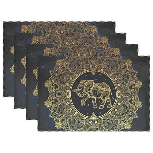 Manteles Individuales Resistentes al Calor, Antideslizantes, diseño Floral de Mandala y Elefante, 12 x 18 Pulgadas, 1 Pieza para Comedor o Cocina, poliéster, Image 888, 12x18x4 in