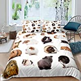 Guinea Pig Duvet Cover Cute Pet Print Bedding for Girls Boys Children Lovey Guinea Pig Comforter Cover 3D Animal Theme Room Decor Bedspread Cover Double 3Pcs Bedclothes