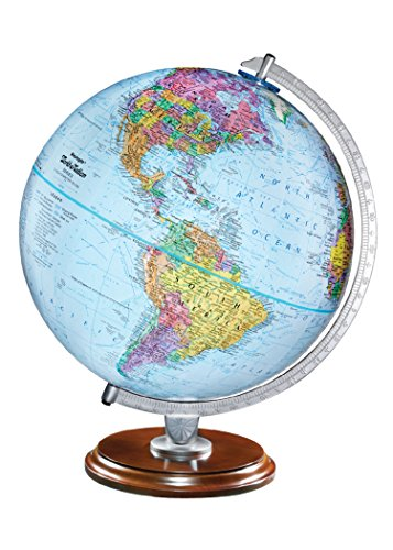 """Replogle Standard - Educational Desktop World Globe for Kids and Teachers, Antique Walnut Wood Stand, Over 4,000 Place Names, Designed for Classroom Learning (12""""/30 cm Diameter)"""