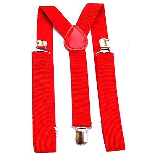 Trimming Shop 35mm Hommes Bretelles en Couleurs Classiques - Résistant à Clipser Bretelles - Entièrement Réglable et àÉlastique - Rouge, 35mm