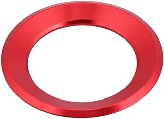 Car Steering Wheel Centre Ring Steering Wheel Cover Trim Aluminium Chromium alloy Decoration Frame Trim Insert Sticker for VW Golf 6 7 Tiguan Passat B7 Skoda Octavia(Red)