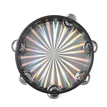 Alnicov Radiant Tambourine Handbell 8 inch Double Row Jingles Reflective Drum Head Percussion Instrument