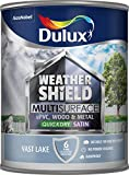 Dulux Weathershield Quick Dry Multi Surface Paint. Satin. Vast Lake. 750ml for uPVC, Wood and Metal (no Primer/Undercoat Required)