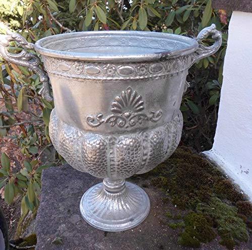 Deko-Impression Imposanter Übertopf Amphore Pflanztopf Vase Schale Eisen Silber-Antik
