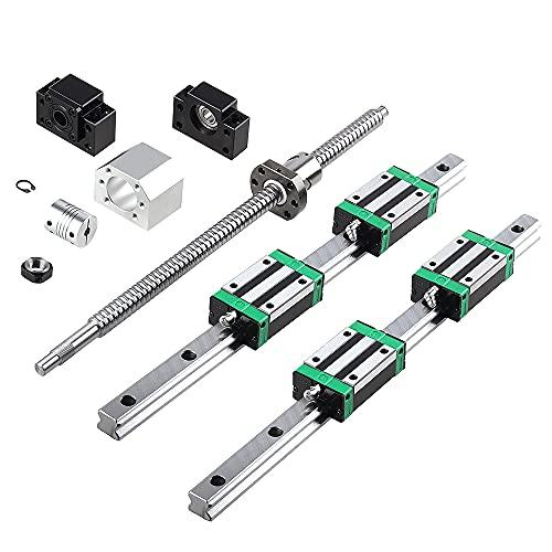 CNCCANEN Linear Guide Rail Kit 2Pcs HGR20-400mm Linear Slide Rail + 1Pcs SFU/RM1204-400mm Ballscrew with BF10/BK10 Linear Rail Bearing Blocks, Full Accessories of CNC for Automated Machines