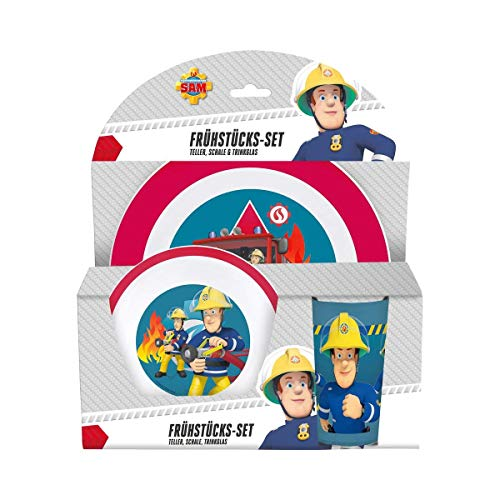 p:os 25335 Kinder Frühstücksset, Feuerwehrmann Sam, bunt, 3 teilig
