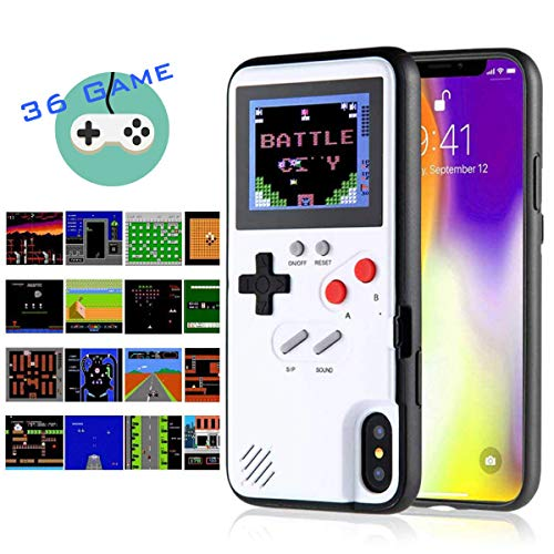 Gameboy iPhone Case Handheld Game Console Case Protective Cover, Gameboy Phone Case for iPhone 6/6s/7/8 Plus X XR XS Max with 36 Classic Retro Games (White, iPhone Xs Max)